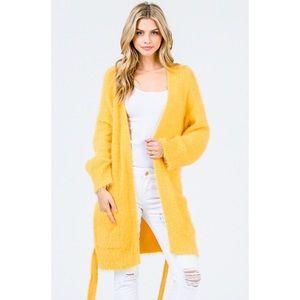 Yellow Soft Plush Eyelash Fuzzy Cardigan